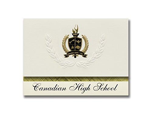 Signature Announcements Canadian High School (Canadian, TX) Abschlussankündigungen, Präsidential-Stil, Grundpaket mit 25 goldfarbenen und schwarzen metallischen Folienversiegelungen