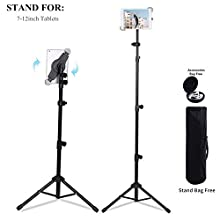 Portable Universal Tripod Stand Adjustable Height 21 to 65 Inch Mount Holder for iPad/iPad Air/iPad Mini/Samsung Galaxy Tab and other 7-12 inch Tablets with Carrying Bag (7-12'')