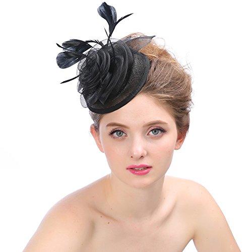 BURFLY Braut Kopfschmuck Hanf Hut, Mode Hochzeit Frauen Fascinator Penny Mesh Hut Bänder und Federn Partyhut ()