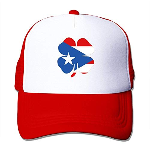 Gorgeous ornaments Lucky Clover Puerto Rico Flag Mesh Unisex Adult-one Size Snapback Trucker Hats -