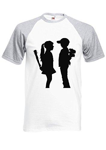 BANKSY Girl and Boy Relationsh?ip Meaning Royal Sports Grey/White Men Women Unisex Shirt Sleeve Baseball T Shirt-XXL