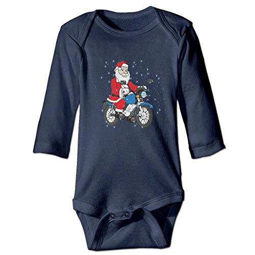 WBinHua Bodysuits Baby Body, Bertha Santa Claus Riding A Motorcycle Baby Unisex Long Sleeve Onesies Bodysuits