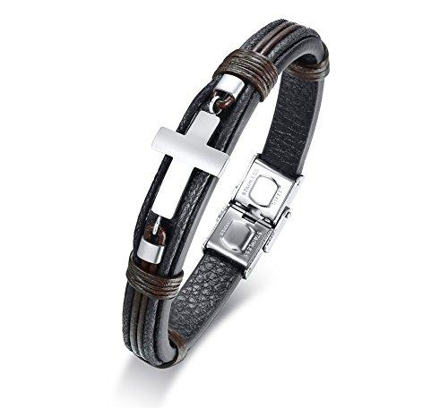 VNOX Herren Jungenkreuz Jesus Religiöse Gebetsarmbänder Edelstahl Leder Verschluss Armband,21cm