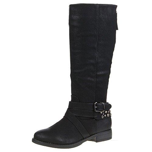Stiefel Schuhe pg 920 Schwarz Damen qYxwFY