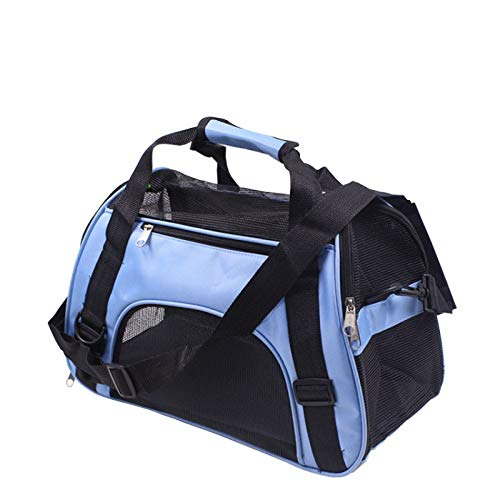 CTAO Bolso Ligero Plegable Plegable del Viaje del Portador del Animal Doméstico De Las Mochilas del Portador del Perro del Gato del Animal Doméstico,Blue-L