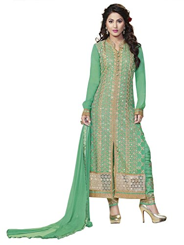Kvsfab Women's Green Georgette Embroidered Salwar Kameez Dress Material [158Hiya]