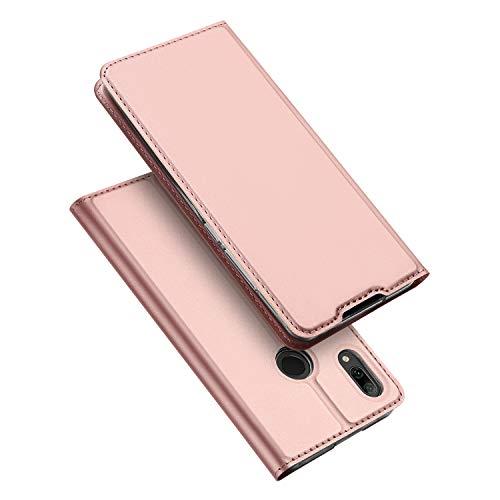 DUX DUCIS Hülle für Huawei P Smart 2019, Leder Flip Handyhülle Schutzhülle Tasche Case mit [Kartenfach] [Standfunktion] [Magnetverschluss] für Huawei P Smart 2019 (Rose Golden)