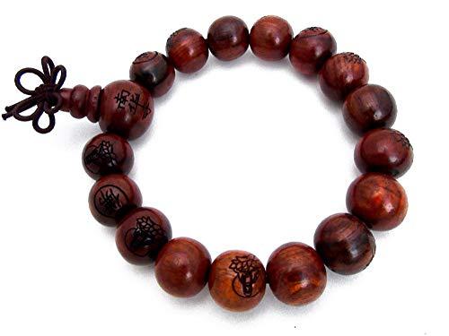 Agathe creation nbsp;–Armband–Buddhistische Gebetskette–Holzperlen, Mahagoni–geschnitzte Perlen, Durchmesser 12mm–Buddha–Braun–handgefertigt