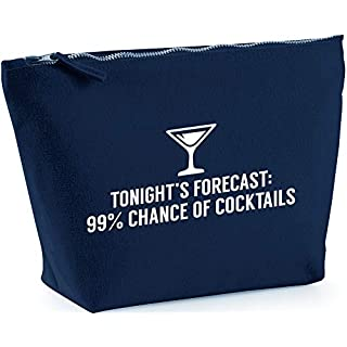Hippowarehouse Tonight's forecast 99% chance of cocktails printed make up cosmetic wash bag 18x19x9cm