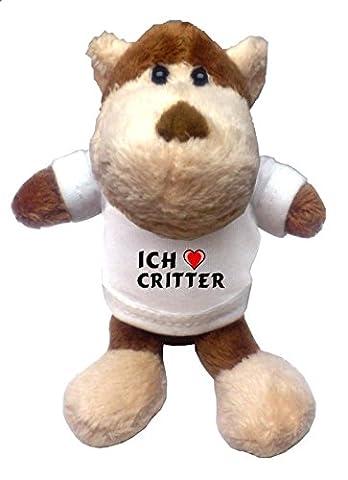 Plüsch Affe Schlüsselhalter mit T-shirt mit Aufschrift Ich liebe Critter (Vorname/Zuname/Spitzname)