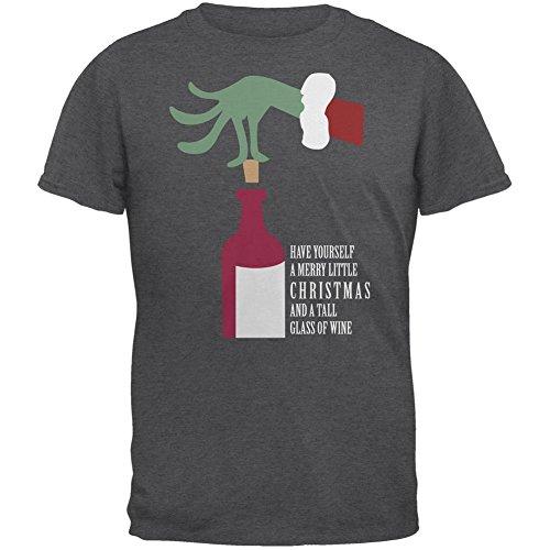 Weihnachten Frohe wenig Wein Dark Heather Erwachsenen T-Shirt Grey