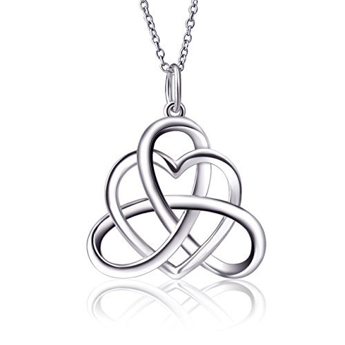 3720cfda62ae9 925 Sterling Silver Vintage Good Luck Irish Celtic Knot Triangle Love Heart  Pendant Necklace, 18''