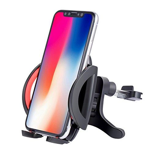 Auto Handyhalterung lueftungsgitter, TOPLUS KFZ Handy Halterung lüftung für iPhone X 8 7 6s 6 plus SE 5 5s Samsung Galaxy S8 plus S7 Edge S6 A7 und andere Smartphones oder GPS Gerät(Schwarz-Rot)