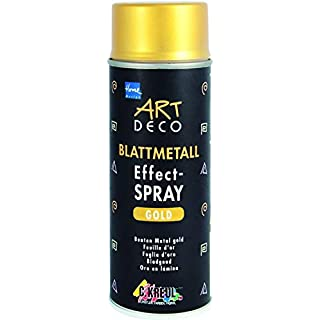Kreul 994400 - Art Deco Blattmetall Effektspray, schnelltrocknender Nitro Kombilack mit blattmetall ähnlicher Optik, für Innen und Außen geeignet, 400 ml Spraydose, gold