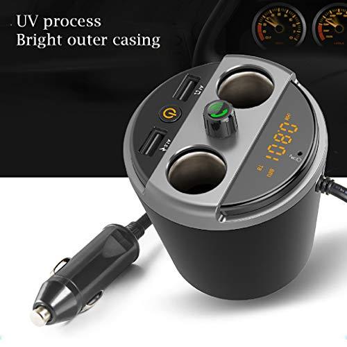 Multifunktions Universell FM Transmitter Auto Bluetooth Kabelloser MP3 Player Radio Adapter Car mit Dual USB Charging Port 5V/3.1A,Unterstützt Freisprecheinrichtung,USB Stick (Schwarz)