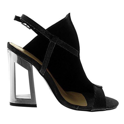 Angkorly Chaussures Sandales Décollete Avec Peep-toe Talon Ouverte Femme Lucide Paillette Block High Heel 11.5 Cm Noir Argent