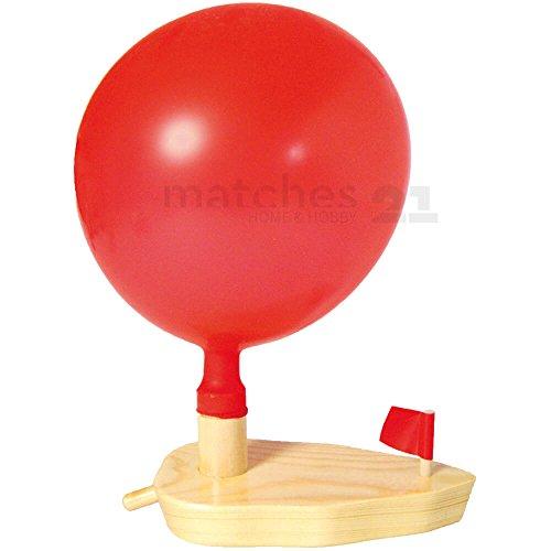matches21 Luftballon Knatterboot Schiff mit Ballonantrieb Bausatz vorgefertigt Bastelset Werksatz für Kinder ab 7 Jahren