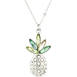 LUX accesorios plateado Pearl Multi piedra verde piña colgante collar
