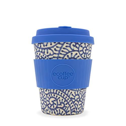 Ecoffee Cup Setsuko 340,2 gram/340 ML Bleu Motif Vague | réutilisable en Bambou Tasse à café