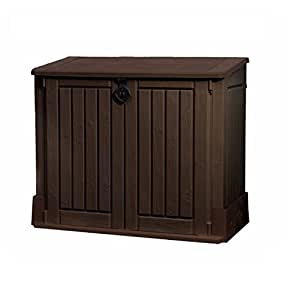 Brown Plastic Storage Unit Box Garden Shed Outdoor Store for Tools Lawn Mowers Patio Shade Protect your Garden Equipment