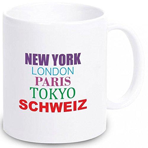 Geschenkartikel Tasse New York, London, Paris, Tokyo, Schweiz Kaffeetasse Becher Deko YD 3-001-886