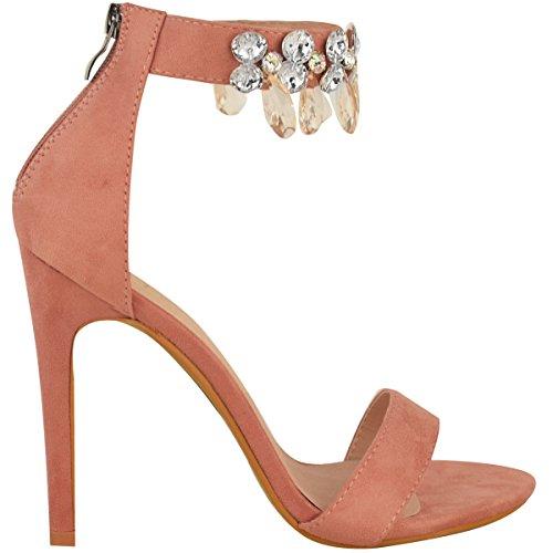 Donna Barely There tacco alto gemma strass sandalo con cinturino alla Caviglia Scarpe Numeri pastello rosa camoscio sintetico