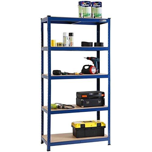 Heavy Duty 5Tier metal garage bagagli scaffali metallo con 5ripiani (blu)