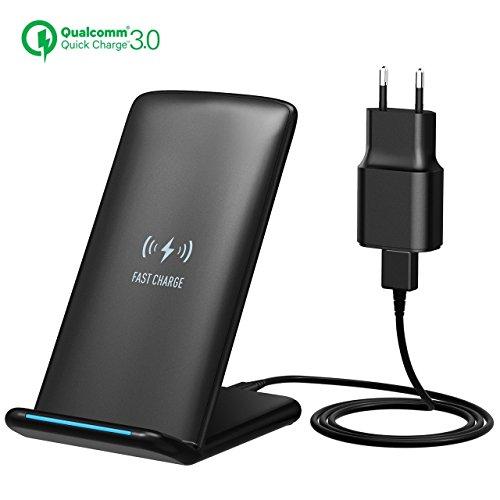 Caricabatterie Wireless Holife 10W, per iPhone 8/ iPhone 8 Plus/iPhone X/Samsung Note 8/S8/S8 plus/S7 Edge/S6 Edge Plus/Galaxy Note 5 e Tutti i Dispositivi Abilitati Qi ( Adattatore QC3.0 Incluso)