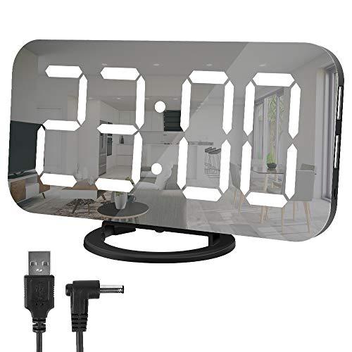 Hospaop Wecker Digital, Led Digitaler Wecker,3-Stufen Helligkeitskontrolle Digital Uhr, Spiegel Tischuhr mit Schlummerfunktion und Dual-USB-Ladegerät-Anschluss für Smartphone, 12/24HR(Schwarz)