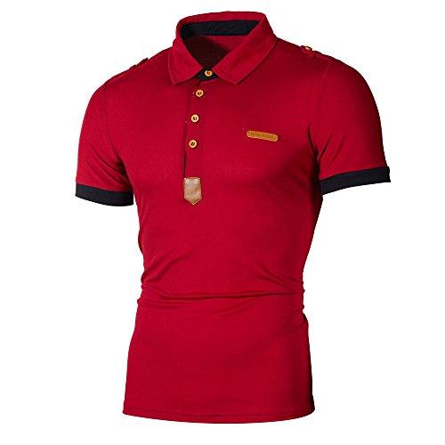MNRIUOCII Herren Poloshirts Kurzarm Slim Fit Sommer T-Shirt Men's Polo Shirts Stretch Kurzarm Polohemd Polo Shirts Basic T-Shirt MäNner Sport Tank Tops Hemden Sweatshirt (A-rot, L) -