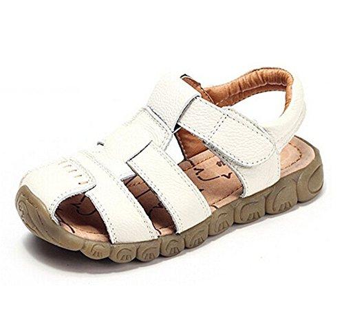 AILEESE Baby Jungen Fisherman Leder Geschlossen-Toe Sandalen Sommer Strand Flache Schuhe (Kleinkind / Little Kid / Big Kid)- Gr. EU 21/ UK 4.5 / einlegesohle länge :13cm, Weiß