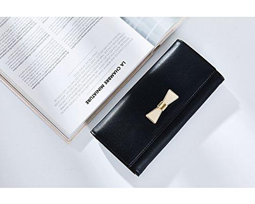Portafoglio Donna - Borse in pelle di Cuoio delle Donne in PU borse Portafoglio Portafoglio Lungo in Lana Frizione (Blu) Nero
