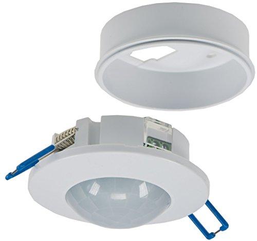 Decken-Einbau-Bewegungsmelder 360° flach LED geeignet einstellbar 6m Detektion weiß 230V I Mit Aufbaurahmen