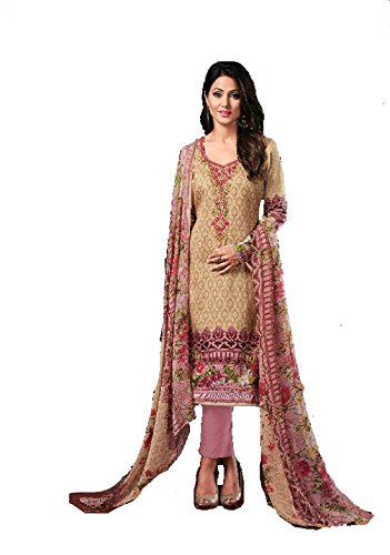 Pakistani Unstitched Suit Material/Glace Cotton lawn Karachi salwar kameez With Neck Embroidery...