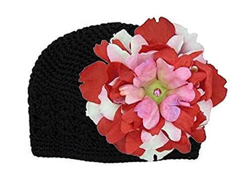 Black Crochet Hat with Red Pink Large Peony, Size: 12-18m