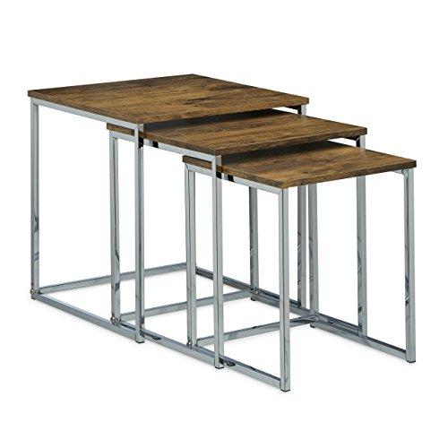 Relaxdays Table gigogne lot de 3 HxlxP: 42 x 40 x 40 cm table basse table appoint plateau carré en bois avec pieds en métal salon gain de place table de chevet moderne canapé, nature