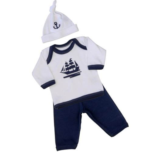 Premature Early Baby Clothes 3 Piece Set - Long Sleeved Top, Trousers & Hat 1.5lb - 7.5lb Navy