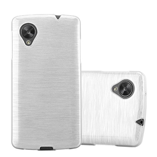 Preisvergleich Produktbild Cadorabo Hülle für LG Nexus 5 - Hülle in Silber – Handyhülle aus TPU Silikon in gebürsteter Edelstahloptik (Brushed) Silikonhülle Schutzhülle Soft Back Cover Case Bumper