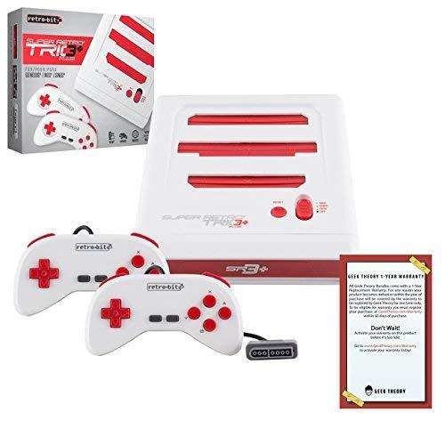 Retro-Bit Super Retro Trio HD Plus 720P 3 in 1 Konsolensystem (2018) Bundle mit 1 Jahr Garantie von Geek Theory - für NES, SNES und Sega Genesis Original Spielkartuschen - Rot/Weiß