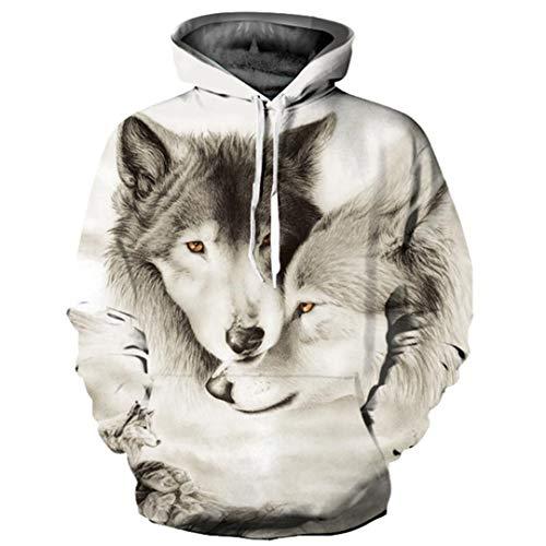 Wolf Hoodies Männer/Frauen 3D Sweatshirts Print Doppel Wolf Hoodies Dünne Trainingsanzüge Tops YXQL409 XXL -