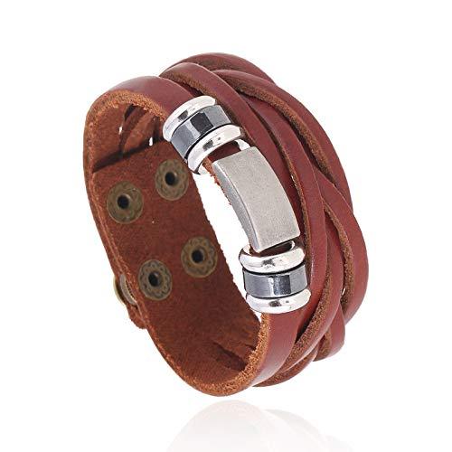 Styleziel Armband Herren Damen Lederarmband echt Leder Surfer Vintage Look Multiband Braun Ringe Platte verstellbar 2335