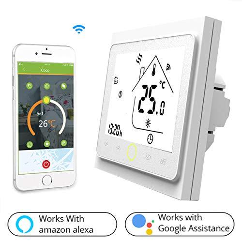 Raumthermostat WIFI für Gaskessel/Wasserkocher,Thermostat LCD-Bildschirm Schaltfläche Berühren Hinterleuchtet Programmierbar mit Alexa Google Home(NO Google Assistant) und Phone APP-weiß