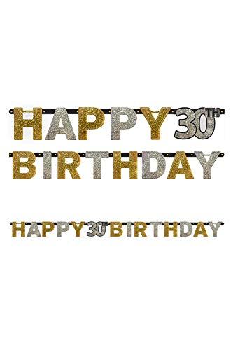 amscan 1202072,4m x 16cm Gold Celebration 30. Happy Birthday Prismatischer Buchstabe Banner (Mx-girl)