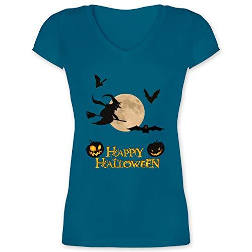 Halloween - Happy Halloween Mond Hexe - XXL - Türkis - XO1525 - Damen T-Shirt mit V-Ausschnitt