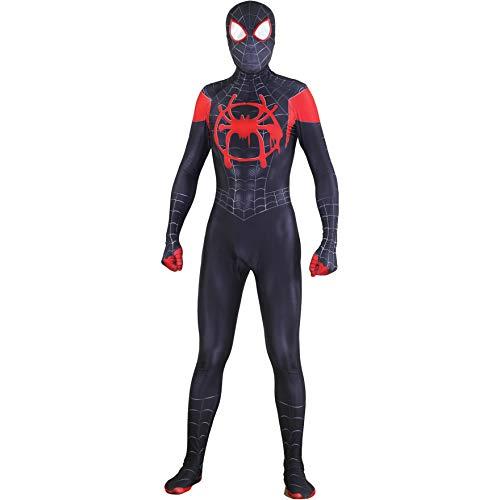 Set Kostüm 2 Männer Spiderman - Fashion Miles Morales In Spinnenvers Cosplay Kostüm Spiderman Spider-Man Strumpfhosen Overall Ganzkörperanzug mit abnehmbarer Maske Outfit Set für Halloween, Weihnachten, Party,Spiderman-155~160cm