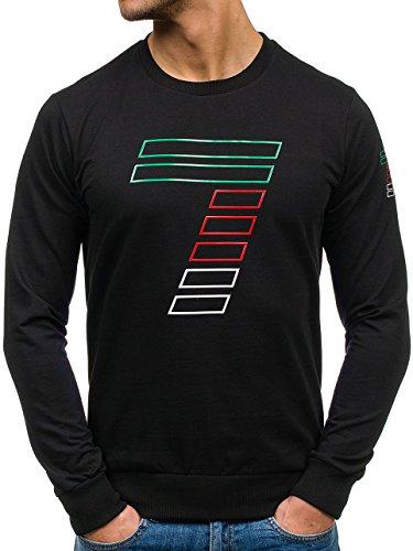 BOLF – Sweat-shirt – Manches longues – U-neck – Homme Noir