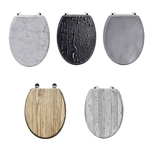 5ec7b5f16595c Evideco 3D - Sedile WC ovale, 3 lati stampati, cerniere in zinco regolabili,