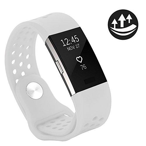 Yometome Für Fitbit Charge 2 Armband Original, Weiche Silikon Uhrenarmband für Sport und Ersatz Klassisch Armband für Fitbit Charge 2