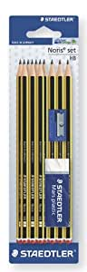 Staedtler Noris Pencils HB Pack of 10 with Sharpener and Eraser