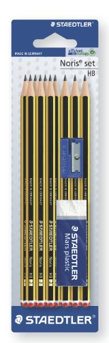 STAEDTLER 120S1BK10D Noris Pencils HB with Sharpener and Eraser, Pack of 10